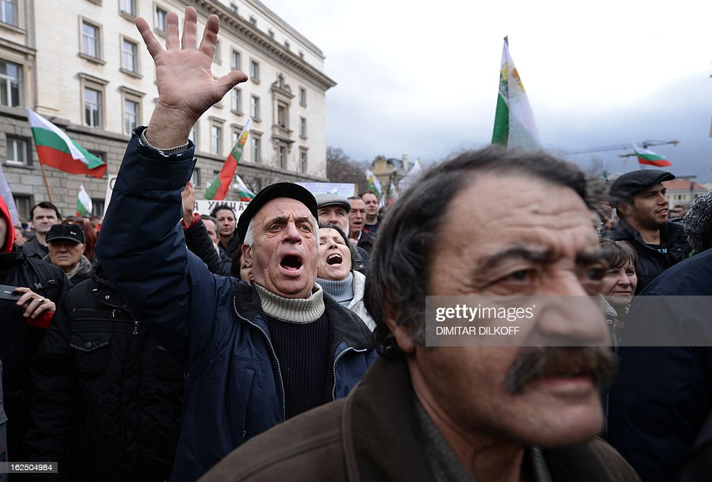 Protesters shout slogans during a protest in Sofia on February 24, 2013. Tens of thousands of protesters rallied across Bulgaria on Sunday to denounce austerity measures and corruption plaguing the country, just days after the right-wing government was forced to resign.