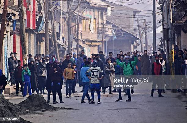 Protesters shouting ProFreedom and antiIndian slogans during protest Soon after Friday prayers people in large number assembled at Jamia Masjid area...