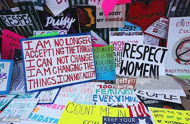 Protester's signs are left near the White House during the Women's March on Washington on January 21 2017 in Washington DC Large crowds are attending...