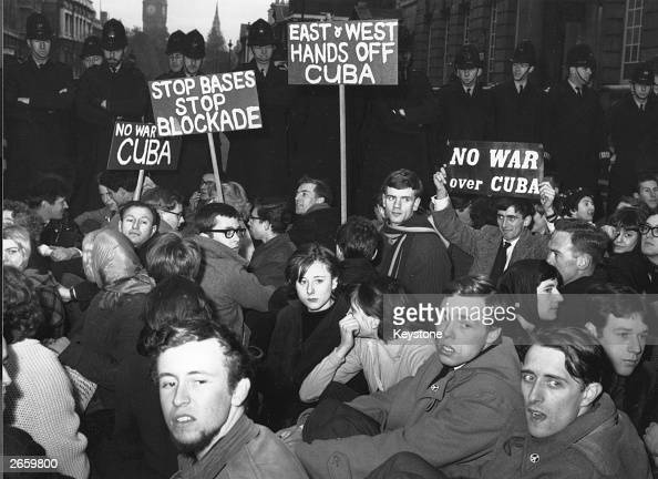 Protesters sitting in Whitehall during a demonstration over the Cuban Missile Crisis