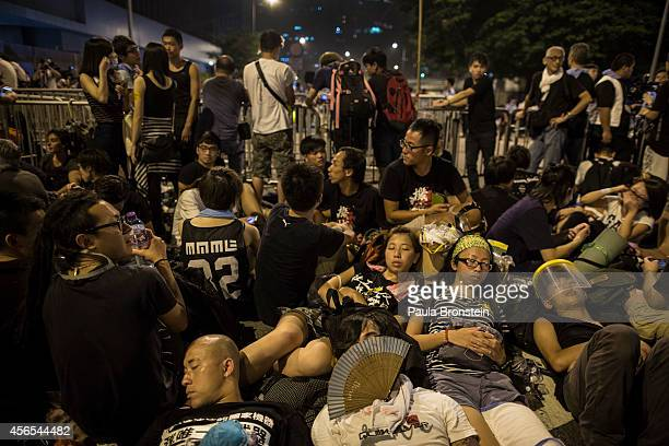 Protesters sleep outside the legislative government complex as the standoff continues on October 3 2014 in Hong Kong Hong Kong Thousands of pro...