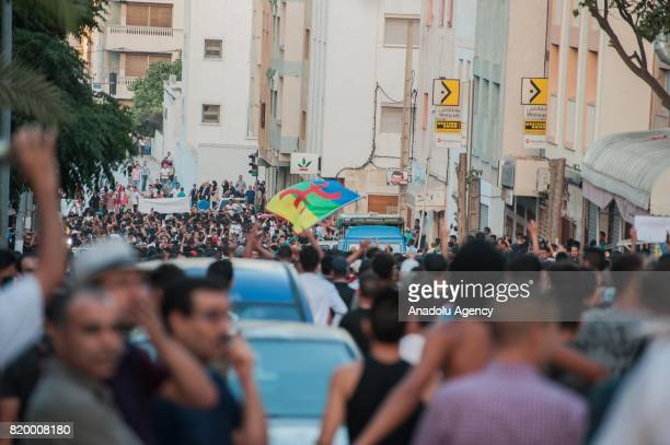 Protesters stage a demonstration continue over 7 months in Al Hoceima Morocco on July 20 2017 People demand release of detainees and fulfillment of...