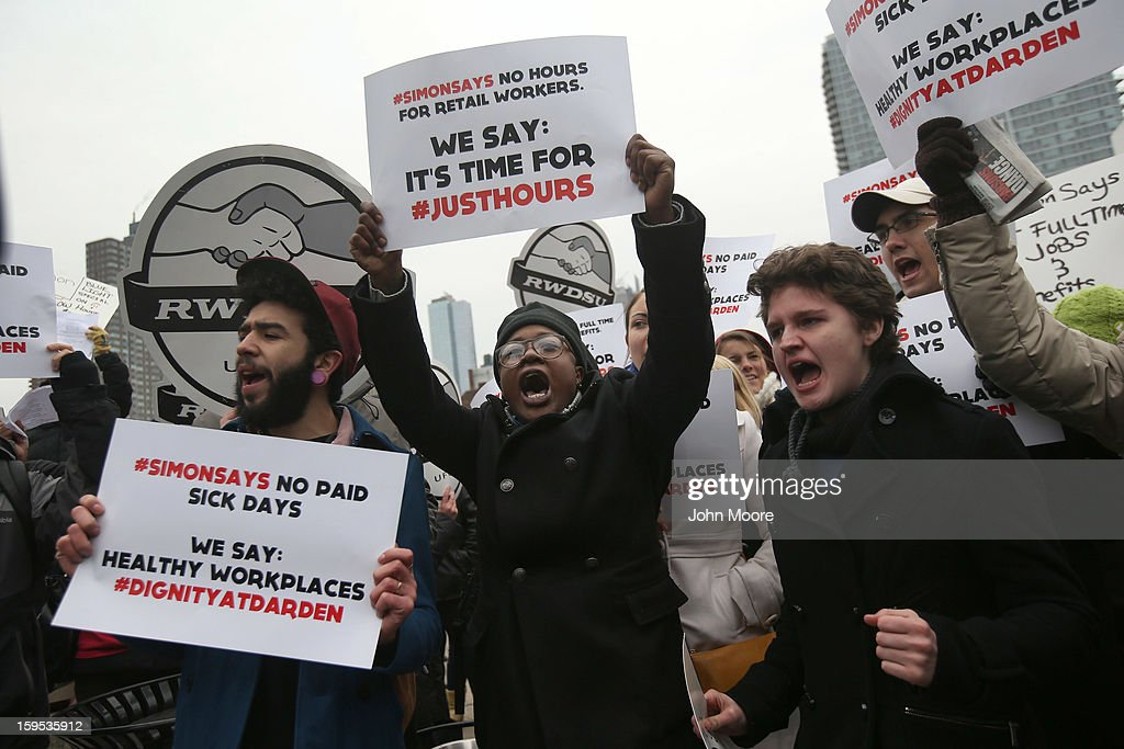 Protesters stage a demonstration outside the National Retail Federation convention after William Simon, president and CEO of U.S. Wal-Mart Stores Inc spoke at the event on January 15, 2013 in New York City. Simon announced that Wal-Mart, the nation's largest retailer, will hire every military veteran who wants a job, provided he or she has left the service in the previous 12 months and did not receive a dishonorable discharge. The pledge represents the largest hiring commitment in history for veterans, who have a higher unemployment rate than the rest of the U.S. population.