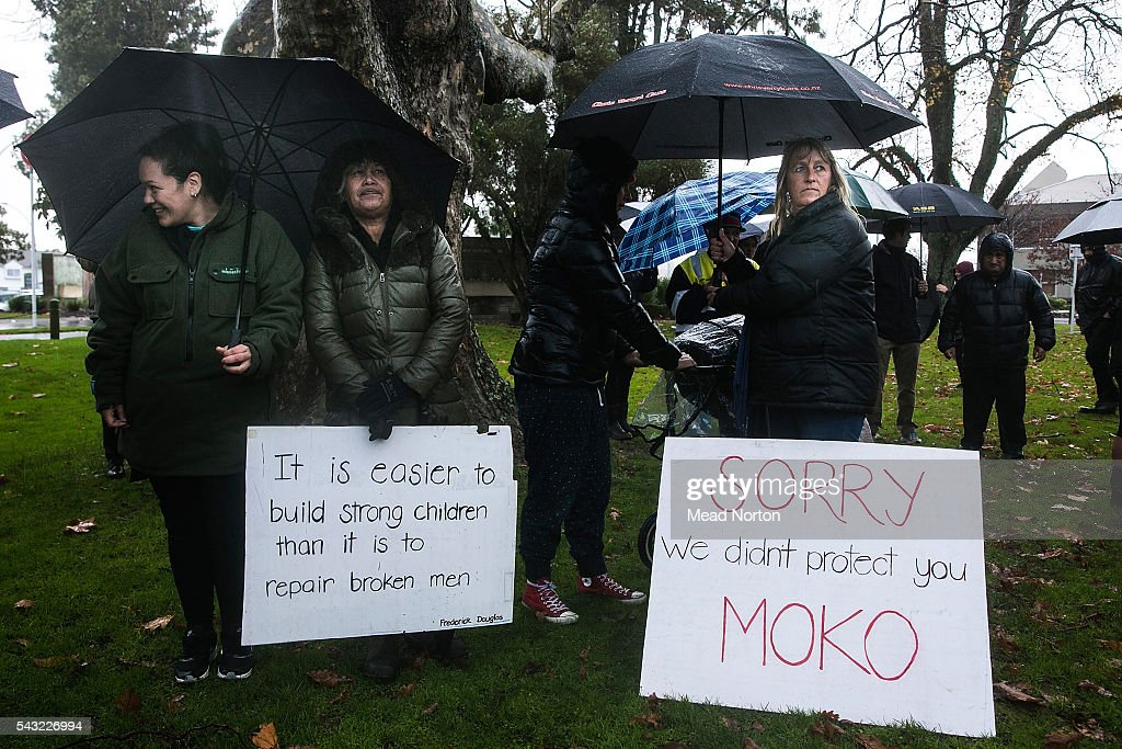 Protesters stand in the rain to support Moko on June 27, 2016 in Rotorua, New Zealand. Three year old toddler Moko Rangitoheriri died on August 10, 2015 from injuries he received during prolonged abuse and torture at the hands of his carers. His killers Tania Shailer and David Haerewa were sentenced at Rotorua High Court today.