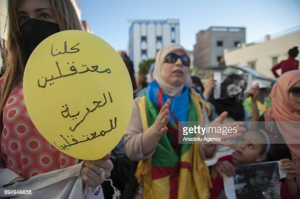 Protesters supporting Rif Movement leader Nasser Zefzafi stage a demonstration demanding from government to take action for development of the region...