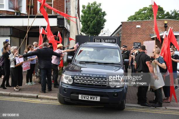 Protesters surround former Ukip leader Nigel Farage's car as he leaves Townley Hall in Ramsgate Kent