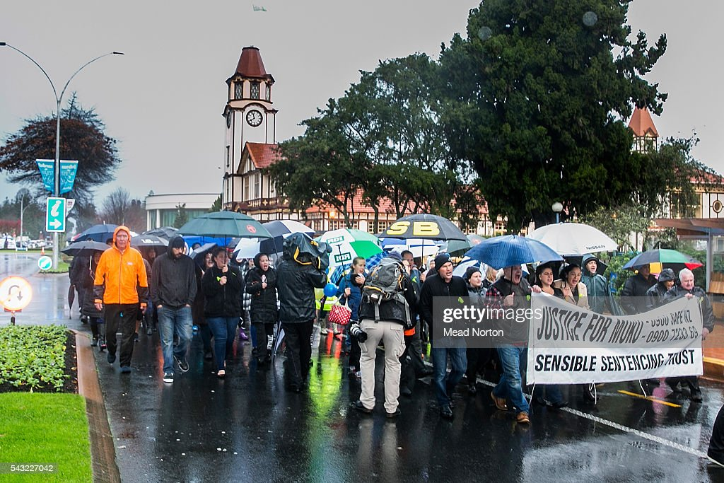 Protesters take over the street calling for harsher sentances for child abusers on June 27, 2016 in Rotorua, New Zealand. Three year old toddler Moko Rangitoheriri died on August 10, 2015 from injuries he received during prolonged abuse and torture at the hands of his carers. His killers Tania Shailer and David Haerewa were sentenced at Rotorua High Court today.