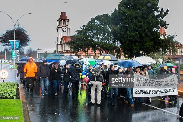 Protesters take over the street calling for harsher sentances for child abusers on June 27 2016 in Rotorua New Zealand Three year old toddler Moko...