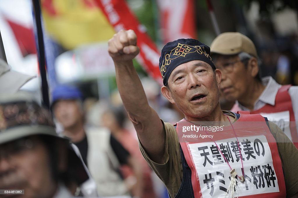 Protesters take part in a demonstration against the G7 Summit on May 26, 2016 in Tsu City, Mie Prefecture, Japan, while G7 Summit 2016 is held in Ise-Shima in Mie Prefecture in Japan during two days from May 26 to 27.