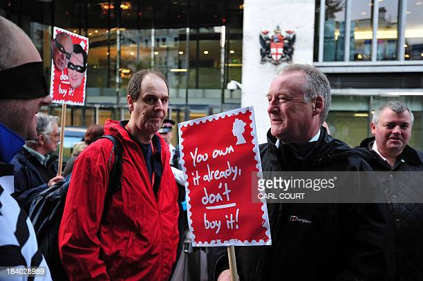 Protesters take part in a demonstration by the Communication Workers Union against Royal Mail privatisation outside the London Stock Exchange in...