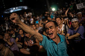 Protesters take part in the rally for the beginning of Occupy Central movement outside Central Government Offices in Central Hong Kong on August 31...