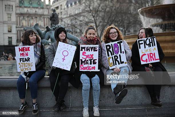 Protesters take part in the Women's March on January 21 2017 in London England The Women's March originated in Washington DC but soon spread to be a...