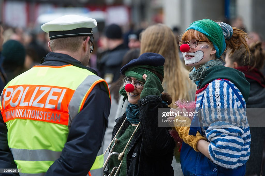 Protesters talk to the police during a demonstration against the Munich Security Conference on February 13, 2016 in Munich, Germany. The annual event brings together government representatives and security experts from across the globe and this year the conflict in Syria will be the main issue under discussion.