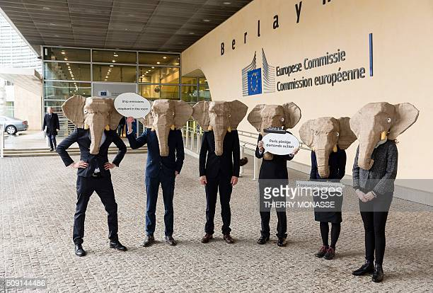 Protesters wearing elephant masks demonstrate to demand European Union and International Maritime Organisation take more action on cutting shipping...