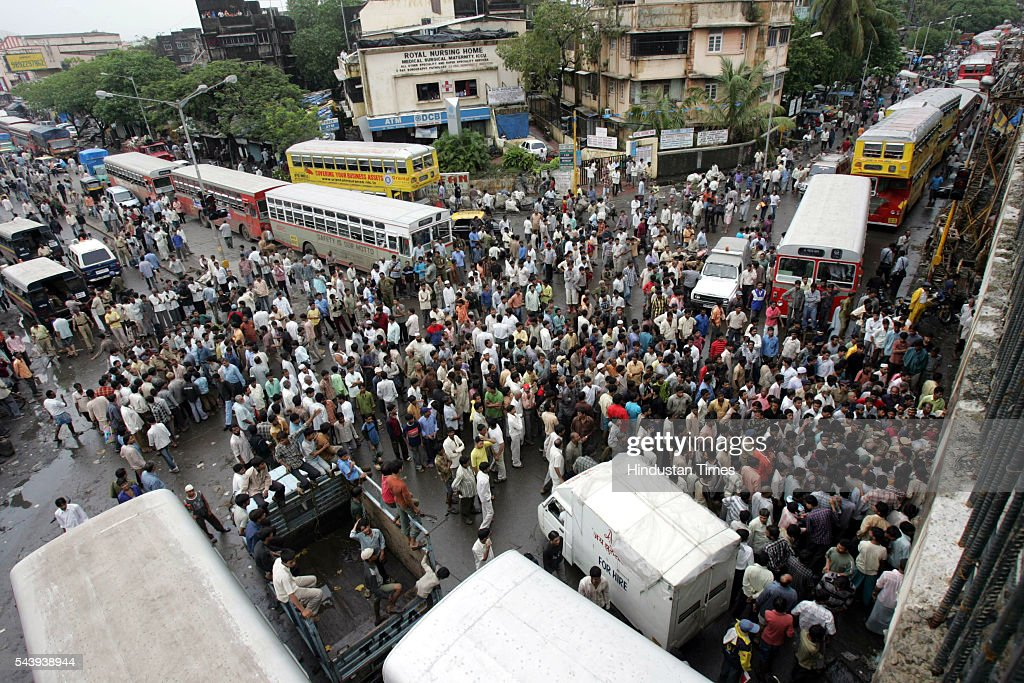 Protesters who staged Rasta Roko at Kurla, against the contaminated water and no electricity for 5 days on July 30, 2005 in Maharashtra, India. Kurla is the worst hit by the flood.