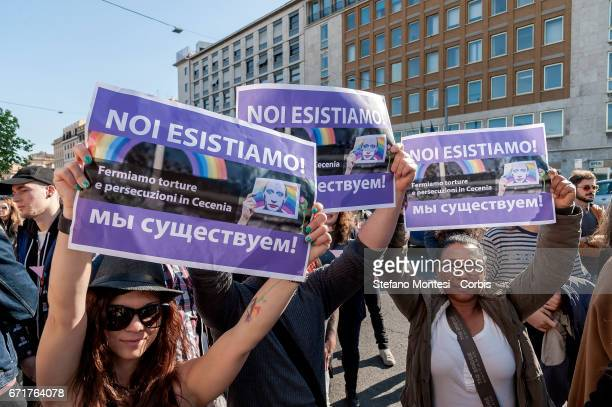 Protesters with the sign reading in Italian and Cyrillic 'we exist' during the demonstration of LGBT Associations in front of the Russian Embassy on...