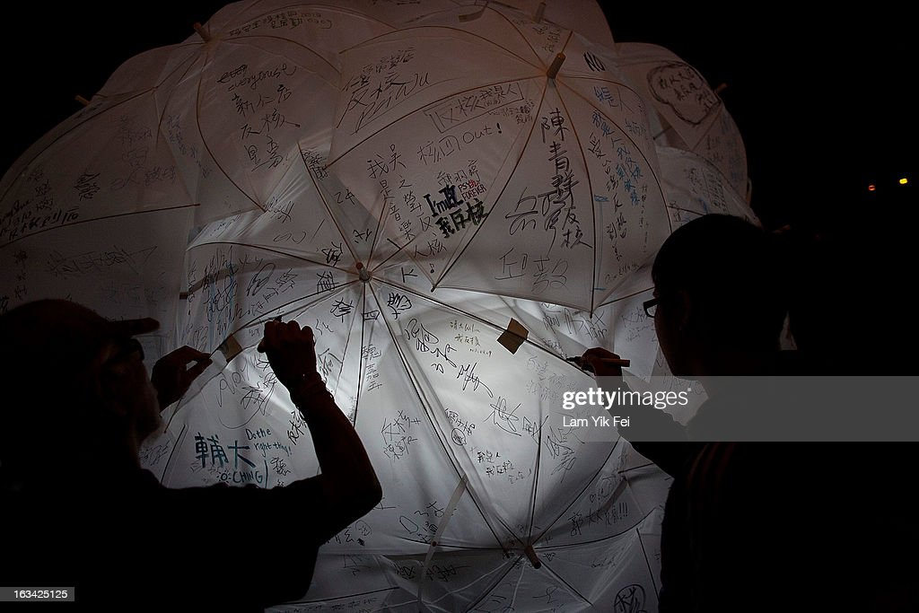 Protesters write down their ''no nuke'' wishes while camping outside the Taiwan presidential palace on March 10, 2013 in Taipei, Taiwan. Tens of thousands of protesters took to the streets in Taiwan calling on the government to shut down the island's nuclear power plants, citing the painful lesson of Japan's nuclear crisis after a 9.0-magnitude earthquake two years ago.