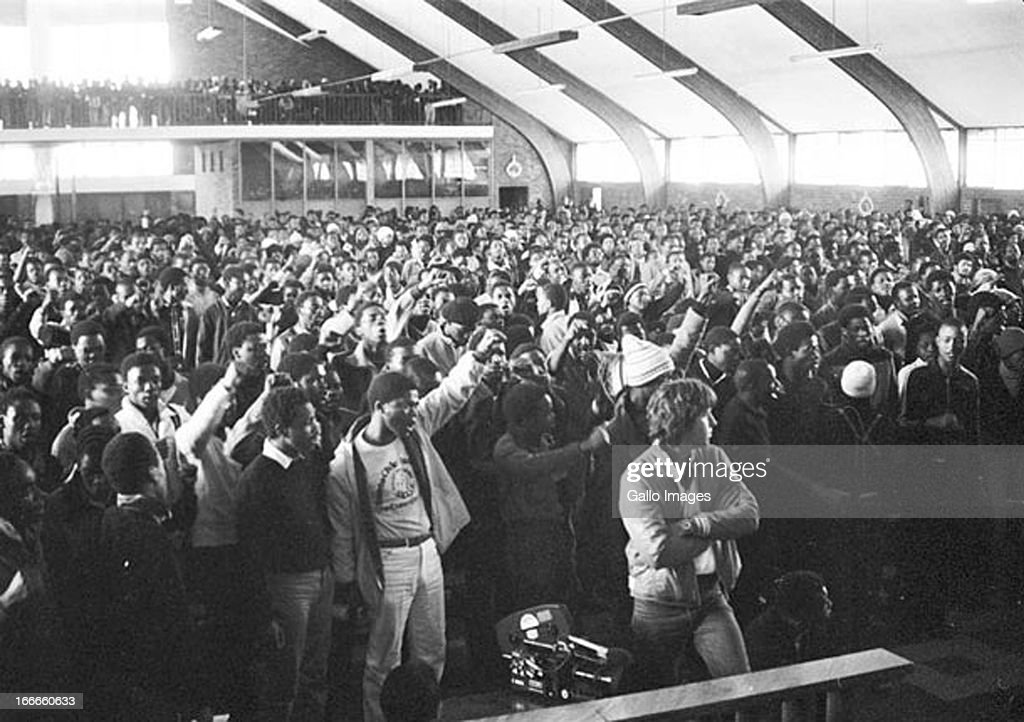 Protesting pupils use the Regina Mundi Church as a refuge during the student uprising on June 16, 1976 in Soweto in Johannesburg, South Africa.
