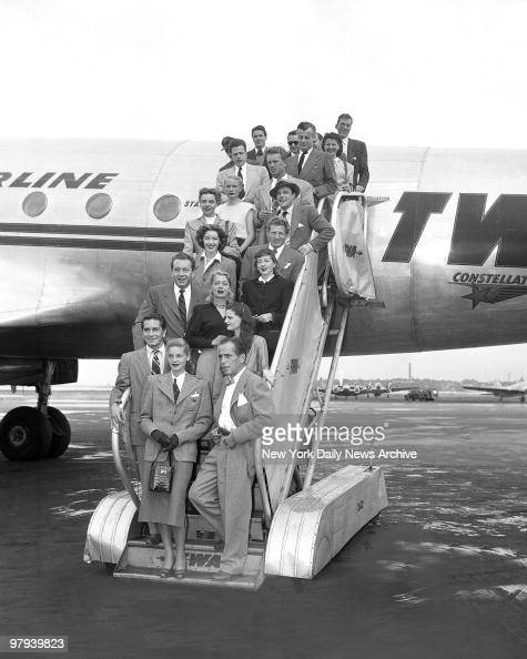 Protesting the methods of the House UnAmerican Activities Committee Hollywood stars arrive on TWA Constellation at LaGuardia Field from Washington...