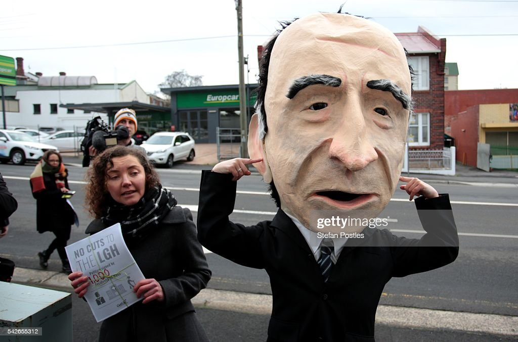 A protestor dressed as Andrew Nikolic, Member for Bass, awaits the arrival of Prime Minister Malcolm Turnbull at the Design Centre Tasmania on June 24, 2016 in Launceston, Australia. Prime Minister Turnbull announced the Coalitions plans to invest A$150 million into expanding the University of Tasmania's campuses in Launceston and Burnie, as well as to contribute to an additional A$7.5 million to the Launceston City Heart Project.