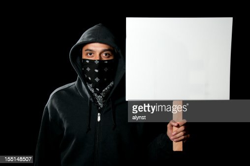 Protestor Holding Blank Sign