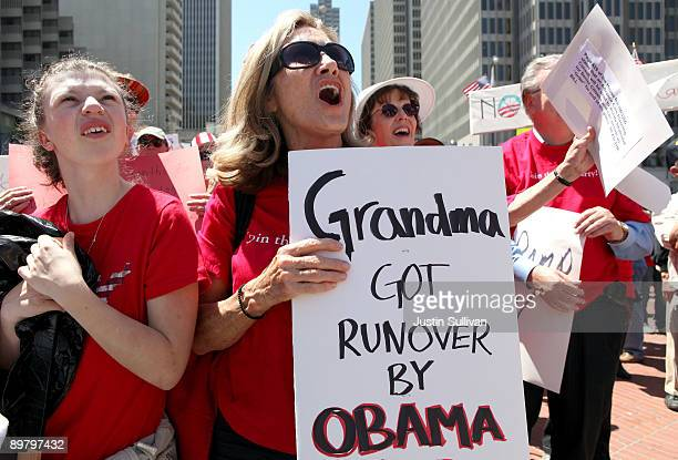 A protestor holds a sign during an antihealth care reform rally August 14 2009 in San Francisco California As the national debate over proposed...