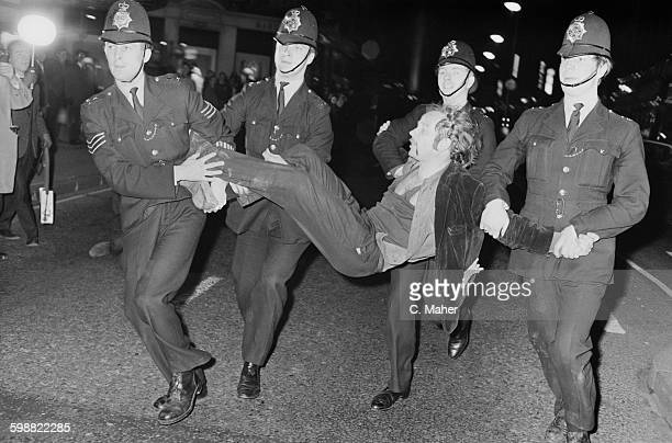 A protestor is arrested during a demonstration against the Vietnam War in London UK 21st October 1967
