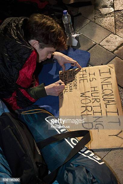A protestor makes his markThe London Stock Exchange was attempted occypied in solidarity with Occupy Wall in Street in New York and in protest...