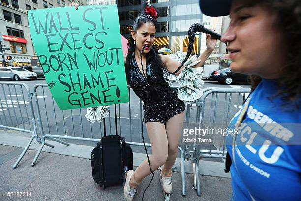 Protestor Marni Halasa affiliated with Occupy Wall Street poses in the Financial District on September 17 2012 in New York City Today is the one year...