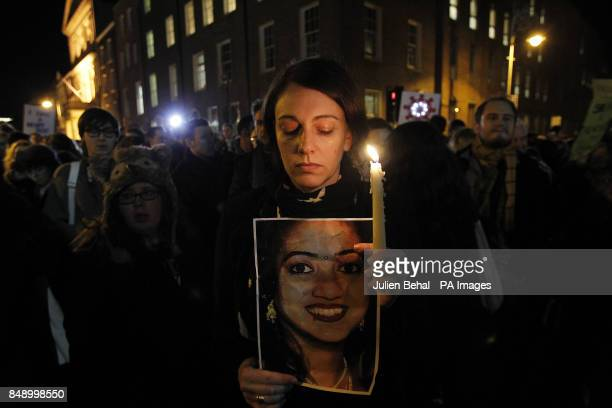 Protestor Niamh O Reilly outside Leinster House this evening after the death of Savita Halappanavar a dentist aged 31 who was 17 weeks pregnant after...