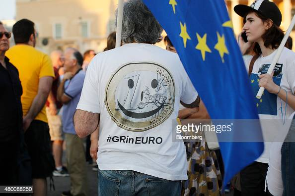 A protestor wears a pro EU tshirt during a proEuropean Union rally at Syntagma Square in Athens Greece on Thursday July 9 2015 The government of...