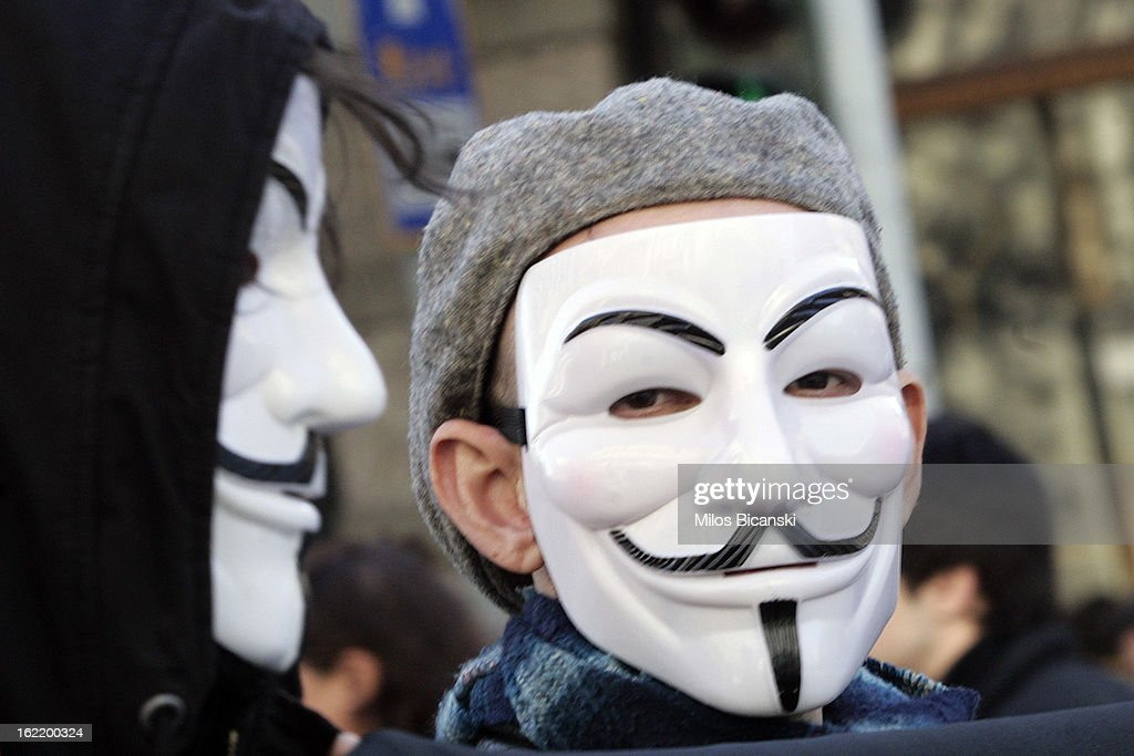 Protestor with a mask outside Greece's parliament during a protest on February 20, 2013 in Athens, Greece. Unions have launched general strike against austerity measures in Greece, amid predictions unemployment in the crisis-hit country will reach 30 percent this year.