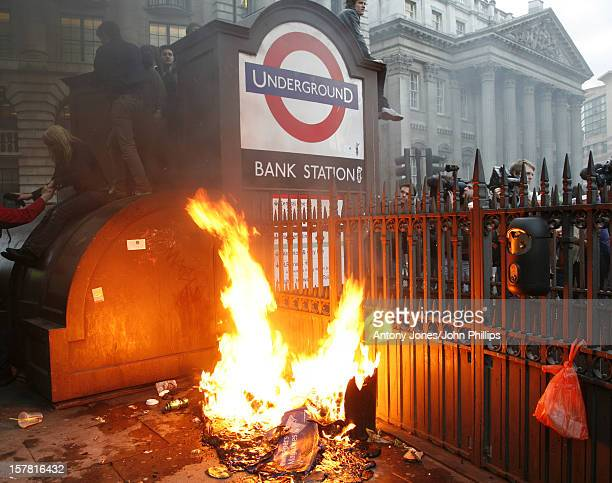 G20 Protestors And Police Clash Outside The Bank Of England In The City Of London