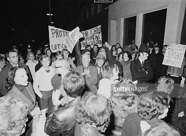 Protestors and police outside Conway Hall as the propaedophile activist group the Paedophile Information Exchange holds its first open meeting London...