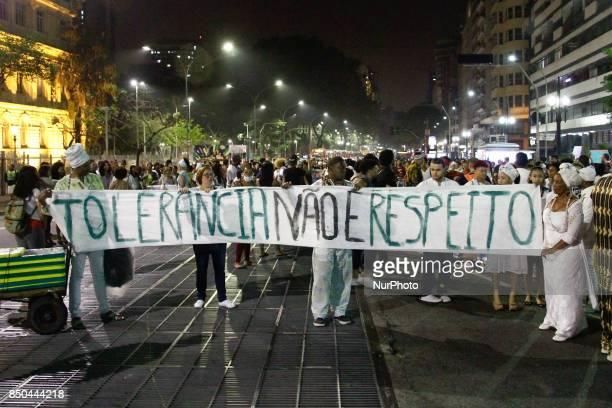 Protestors and religious march in defense of religious freedom in Praça da República central São Paulo Brazil on 20 September 2017 The walk is a...
