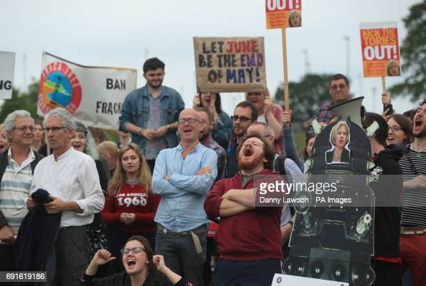 Protestors and supporters outside the campus of the University of York before Prime Minister Theresa May and Labour leader Jeremy Corbyn take part in...