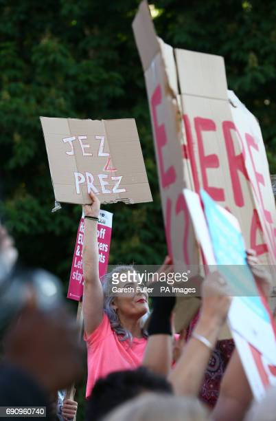 Protestors and supporters watch the arrival of the politicians who are taking part in the BBC Election Debate hosted by BBC news presenter Mishal...