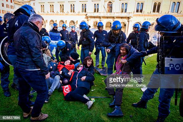 Protestors are arrested by police during the protest as an estimated 500 people of the movements for the right to housing occcupied Venezia Square to...
