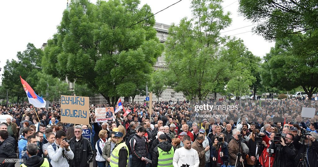Protestors are seen in front of the Electoral Commission during a protest organised by Serbian main opposition parties against alleged electoral 'fraud' at last weekend polls in downtown Belgrade, Serbia on April 30, 2016.