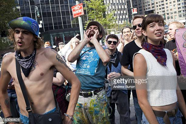 Protestors associated with Occupy Wall Street gather in Foley Square on the eve of the anniversary of the start of their movement on September 16...