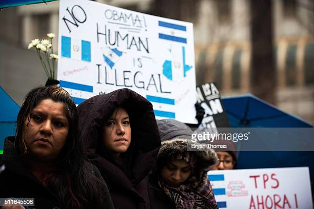 Protestors call for an end to immigration raids and deportations outside the Immigrations and Customs Enforcement building on February 23 2016 in New...