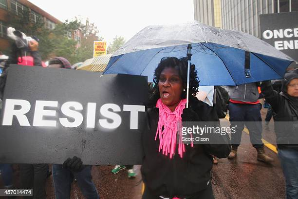 Protestors call for St Louis County Prosecuting Attorney Robert McCulloch to withdraw from the investigation surrounding the death 18yearold Michael...