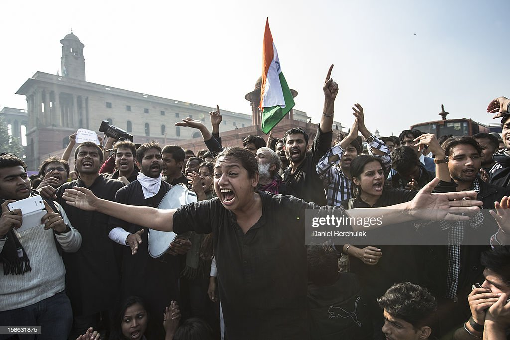 Protestors chant anti-police slogans during a protest against the Indian governments reaction to recent rape incidents in India in front of Rashtrapati Bhavan or the Presidential Palace on December 22, 2012 in New Delhi, India. Thousands of students gathered in front of the Presidential Palace in New Delhi to protest against current rape laws and the governments dealings of recent rape cases all over India.