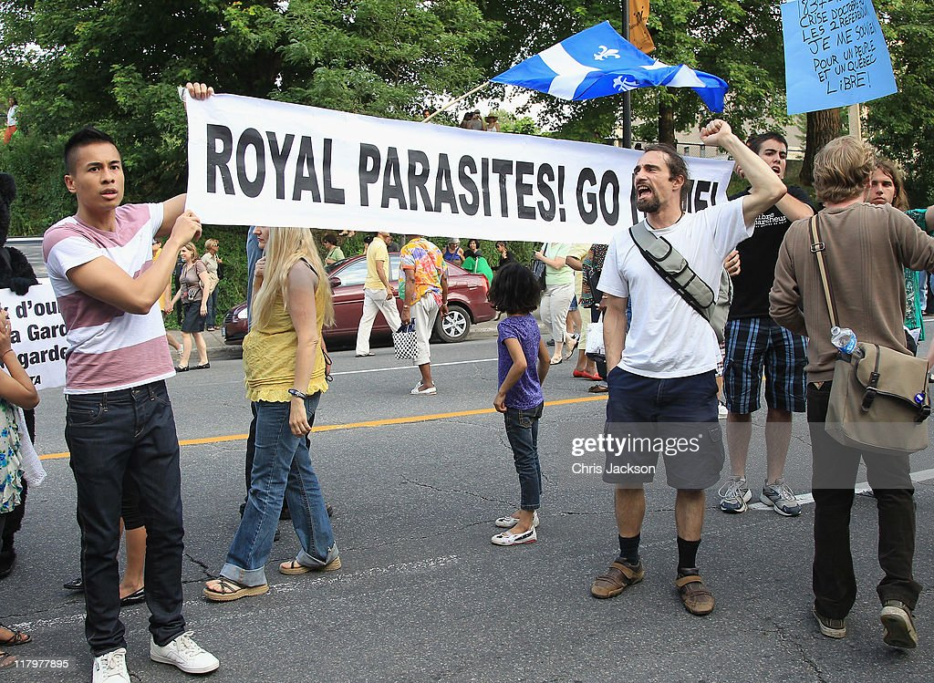 Protestors chant outside Sainte-Justine University Hospital on July 2, 2011 in Montreal, Canada. The newly married Royal Couple are on the third day of their first joint overseas tour. The 12 day visit to North America will take in some of the more remote areas of the country such as Prince Edward Island, Yellowknife and Calgary. The Royal couple yesterday joined millions of Canadians in taking part in Canada Day celebrations which mark Canada's 144th Birthday.