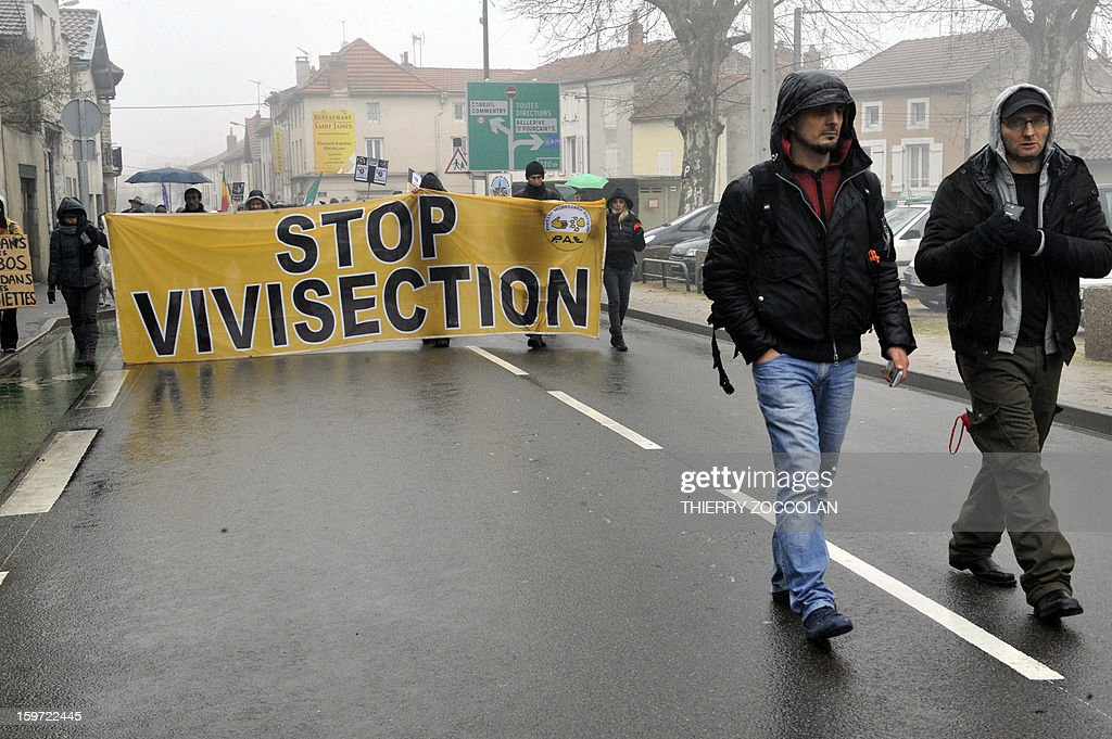 Protestors coming from differents European countries hold a banner as they take part to a 'No Harlan' demonstration against the Harlan Sprague Dawley Inc Environ, a leading supplier of animals and other services to laboratories for the purposes of testing on January 19, 2013 in Gannat, Central France. The Harlan group breeds beagles canines and mice for laboratories. 'No Harlan' demonstrations take place today in United Kingdom, Italy, Croatia and Lithuania. AFP PHOTO THIERRY ZOCCOLAN
