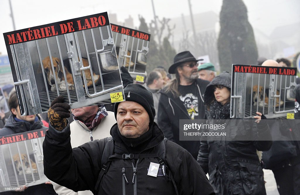 Protestors coming from differents European countries hold placards and banners as they take part to a 'No Harlan' demonstration against the Harlan Sprague Dawley Inc Environ, a leading supplier of animals and other services to laboratories for the purposes of testing on January 19, 2013 in Gannat, Central France. The Harlan group breeds beagles canines and mice for laboratories. 'No Harlan' demonstrations take place today in United Kingdom, Italy, Croatia and Lithuania.
