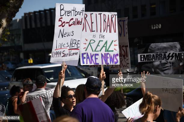 Protestors demonstrate against Breitbart News and what the protestors describe as the media company's propaganda for the Trump administration March...
