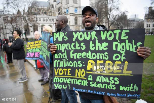 Protestors demonstrate against Brexit in Parliament Square opposite the Houses of Parliament on February 1 2017 in London England The European Union...