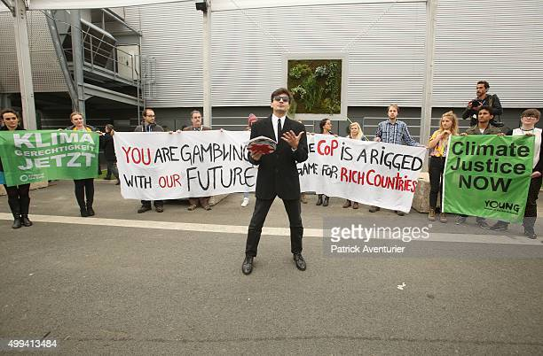 Protestors demonstrate against COP21 at Le Bourget on December 1 2015 in Paris France The COP21 summit will see negotiators from 195 country try to...