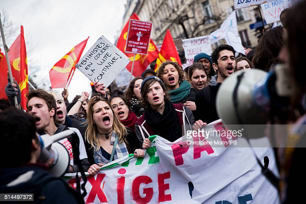 Protestors demonstrate against labour reforms on March 9 2016 in Paris France More than 400000 young people and unions across France joined together...